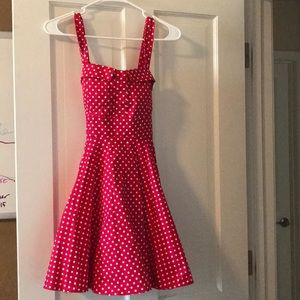 New red and white polka dot a-line dress SZ small